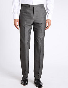 Grey Textured Tailored Fit Flat Front Trousers