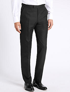 Black Tailored Fit Flat Front Trousers
