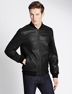Tailored Fit Leather Bomber Jacket