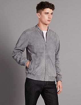 Suede Perforated Bomber Jacket