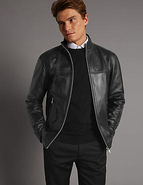 Leather Funnel Neck Jacket
