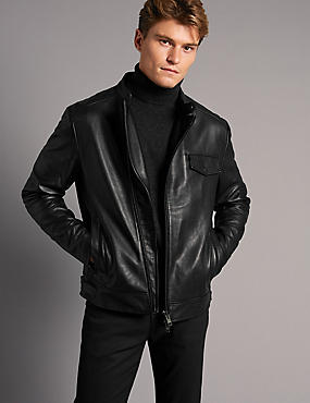 Leather Asymmetric Zipped Jacket
