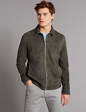 Suede Front Zip Jacket