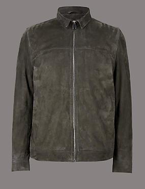Suede Front Zip Jacket, MOLE, catlanding