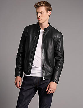 Leather Biker Jacket, BLACK, catlanding