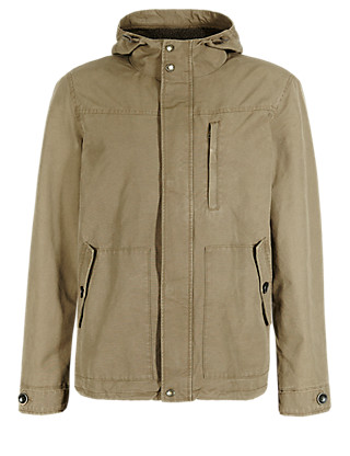 Pure Cotton Water Resistant Hooded Parka Clothing