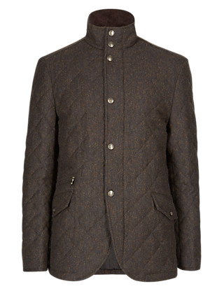 Wool Blend Tailored Fit Quilted Blazer Clothing