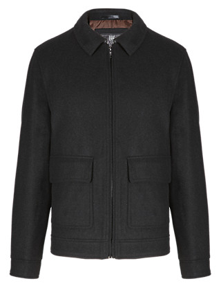 Harrington Jacket with Wool Clothing