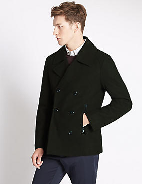 Tailored Fit Peacoat with Wool
