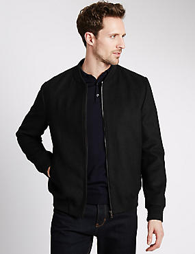 Tailored Fit Bomber Jacket with Wool