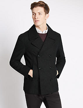 Slim Fit Texture Peacoat with Wool