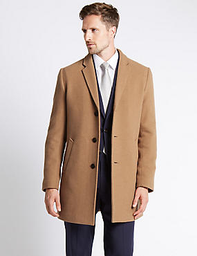 Wool Blend Single Breasted Revere Overcoat