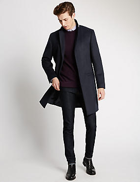 Slim Fit Revere Collar Coat with Wool