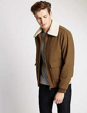 Tailored Fit Wool Blend Faux Fur Collar Bomber Jacket