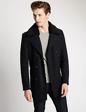 Tailored Fit Borg Peacoat with Wool