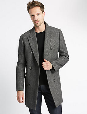 Double Breasted Peak Herringbone Coat