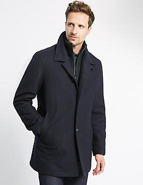 Double Collar Coat with Wool