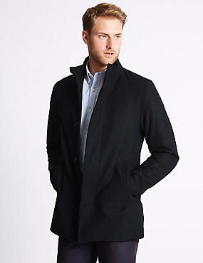 Funnel Neck Coat with Wool