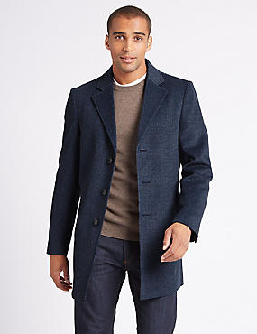 Wool Blend Revere Overcoat, BLUE MIX, catlanding