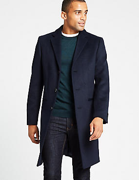 Wool Blend Revere Coat, NAVY, catlanding