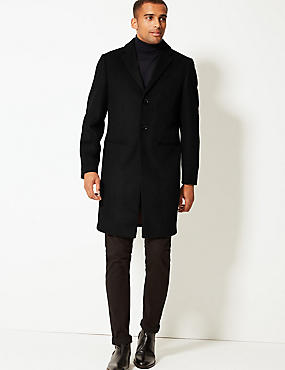 Wool Blend Revere Coat, BLACK, catlanding