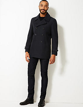 Wool Blend Peacoat, NAVY, catlanding