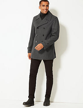 Wool Blend Peacoat, GREY, catlanding