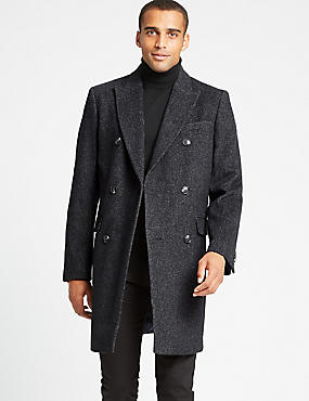 Wool Blend Twill Peak Collar Overcoat, GREY MIX, catlanding