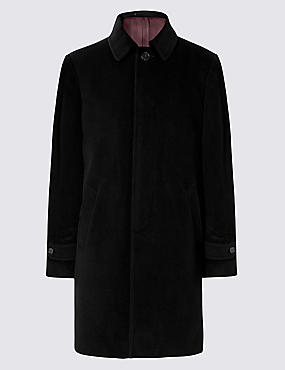 Wool Rich Coat with Cashmere, BLACK, catlanding