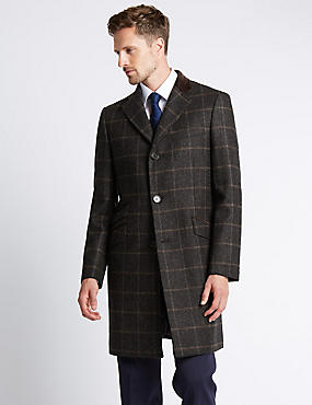 Luxury Single Breasted Wool Coat with Buttonsafe™