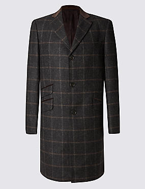 Pure Wool Luxury Single Breasted Overcoat