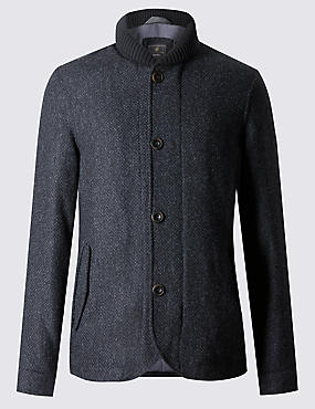 Pure Wool Tailored Fit Shawl Collar Coat