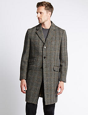 Pure Wool Regular Fit Harris Tweed Coat