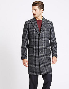 Pure Wool Peak Collar Overcoat