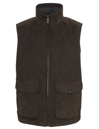 Mock Suede Quilted Gilet Clothing