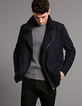 Wool Blend Tailored Fit Asymmetric Peacoat