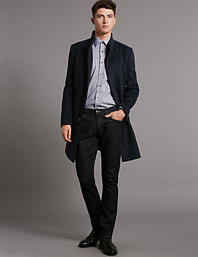 Tailored Fit Funnel Neck Coat with Wool
