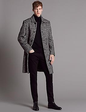 Wool Blend Overcoat, BLACK/WHITE, catlanding