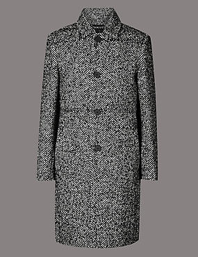 Wool Blend Overcoat, BLACK/WHITE, catlanding