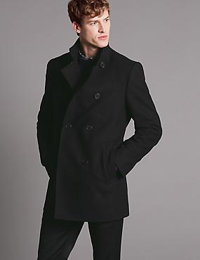 Wool Blend Funnel Neck Overcoat, BLACK MIX, catlanding