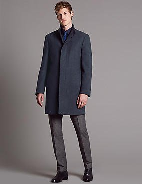 Wool Blend Funnel Neck Coat, BLUE MIX, catlanding