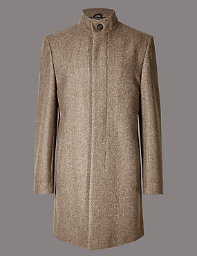Wool Blend Funnel Neck Coat, NEUTRAL, catlanding