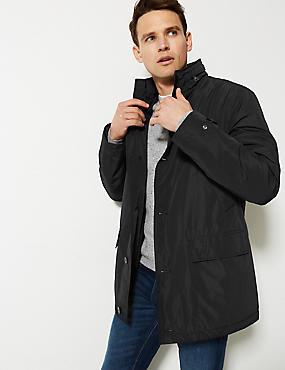 Detachable Collar Mac with Stormwear™, BLACK, catlanding