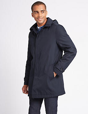 Hooded Mac with Stormwear™ , NAVY, catlanding