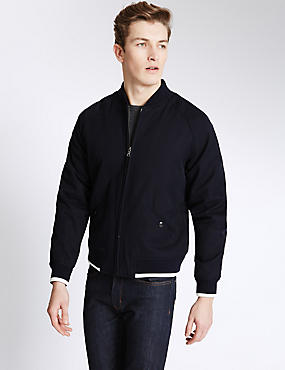 Pure Cotton Textured Bomber Jacket