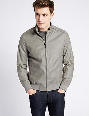 Linen Blend Bomber Jacket with Stormwear™