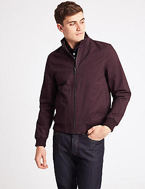 Cotton Rich Bomber Jacket with Stormwear™, BERRY, catlanding