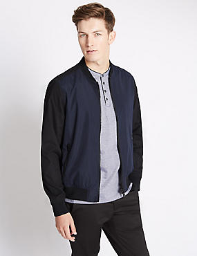 Two Tone Slim Fit Baseball Bomber Jacket with Stormwear™