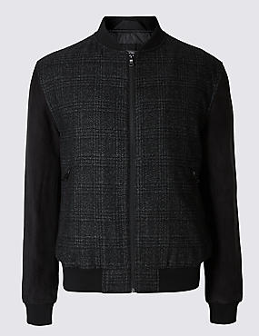 Wool Blend Tailored Fit Checked Bomber Jacket