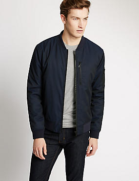 Tailored Fit Wadded Bomber Jacket